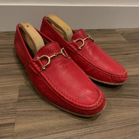 Red leather Italian Loafers with gold buckles
